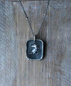 Unicorn wax seal antique fine silver pendant by ALMrozarka on Etsy