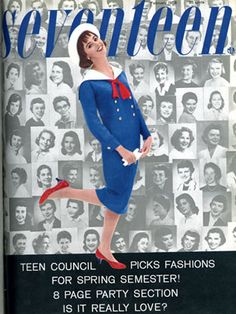 "All those girls in the black and white pics on the cover are the 1958 version of Seventeen's Style Council — back then, they were called the ""Teen Council"" and apparently favored cat-eye glasses, sassy bobs, and sailor suits."