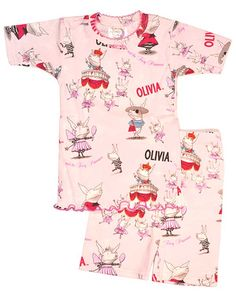 Olivia and the Fairy Princesses Short Johns Kids Starting At: $33.00 Olivia is having an identity crisis! There are too many ruffly, sparkly princesses around these days, and Olivia has had quite enough. She needs to stand out! She has to be special! She wants to do more than just fit in! So what will she be? Join Olivia on a hilarious quest for individuality, and rest assured, you won't find THIS pig pleased to be in pink! Long john set is 100% cotton snug fit Made in the U.S.A.