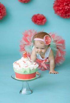 Mint and coral color themed cake and tutu.