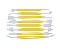 Cake Decorating Flower Sugar Craft Modeling Tools Kit 8 Pieces - Yellow   White ** Check this awesome image : Baking Accessories