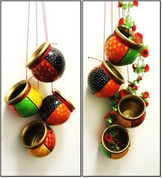 Ethnic Indian Decor, Home Decor Products, Terracotta Products, Hand painted Pots. Diwali Diy, Diwali Craft, Happy Diwali, Diy Diwali Decorations, Festival Decorations, Diya Decoration Ideas, Decor Ideas, Pottery Painting Designs, Hanging Pots