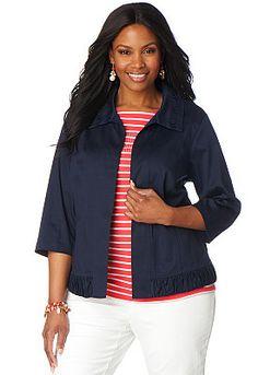 Shirred Collar Solid Sateen Jacket