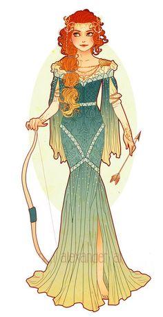 Art Nouveau Costume Designs VII: Merida by Hannah Alexander | #ilustração #illustration #artedigital #digitalart #artnouveau #merida #valente #brave