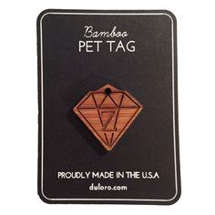 Pet Tag - Wood Monogram Dog tag - Diamond #wooddogtag #dogtag #keychain