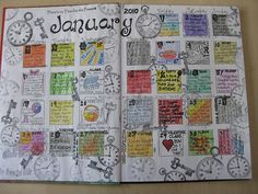 I consider this an example of what I refer to as [calendar journaling] ☛ entries of color, doodle, bits of thought // #collageplanning