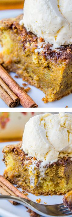 Easy Pumpkin Pie Cake from The Food Charlatan // This super easy cake gives you…