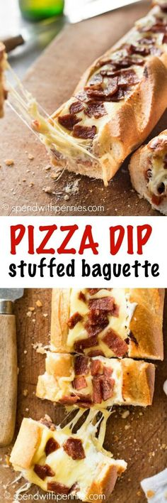 A warm crusty bread stuffed with pizza dip, loaded with gooey cheese! Add in pepperoni, hawaiian toppings or your personal pizza favorites!