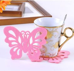 coaster stock on sale at reasonable prices, buy New Arrival 1 pcs/lot Creative Household Supplies Silicone Coasters Cute butterfly Coasters Cup Mat Hot Sale from mobile site on Aliexpress Now! Butterfly Felt, Butterfly Bags, Butterfly Shape, Butterfly Design, Silicone Coasters, Felt Coasters, Cup Mat, Cup Coaster, Party Cups