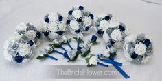 blue+and+silver+wedding+bouquets | Royal blue and silver silk wedding bouquet, horizon blue bridal