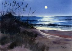 The moon reflects a path out into the midnight ocean in this giclee print from an original watercolor by Mary Ellen Golden.The image is printed on Arches Hotpress watercolor paper with archival inks. It is packaged in a clear bag with flawboard fo. War Photography, Types Of Photography, Landscape Photography, Watercolor Pictures, Watercolor Paintings, Watercolor Paper, Watercolours, Beach Watercolor, Beach Images