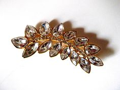 Vintage Monet Rhinestone and Gold Tone Spray Brooch, Floral
