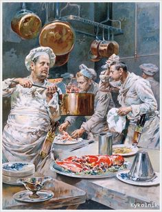 Gustave Henri Marchetti (France, 1873-) «In the Kitchen. Preparations for Christmas Eve dinner in a Paris restaurant» 1893