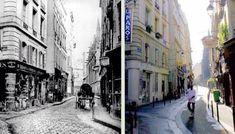 Paris Streets Then & Now 1850/ 2007 - Rue Saint-André des Arts #Paris #Europe