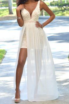 Sexy V Neck Spaghetti Strap Sleeveless V-shape Backless Side Split Chiffon Patchwork White Lace Ankle Length Dress