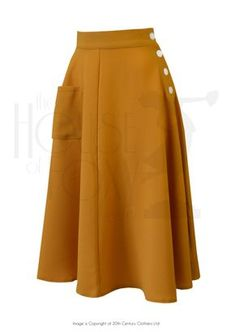 1940s Style Whirlaway Swing Dance Skirt in Mustard Crepe