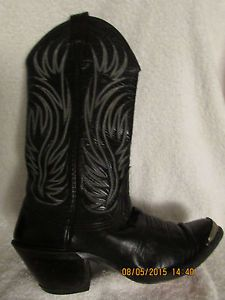 Sz-6-B-Black-Blue-Stitched-Cowboy-Boots-From-Mocona-Texas-Awsome