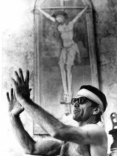 """Pier Paolo Pasolini on set of """"Salo or 120 Days of Sodom"""" (1975)"""