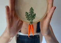 Felted Vegetables with Embroidered Leaves