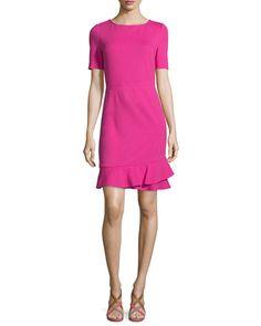 TBNQG Diane von Furstenberg Serafina Crepe Sheath Dress, Vivid Pink