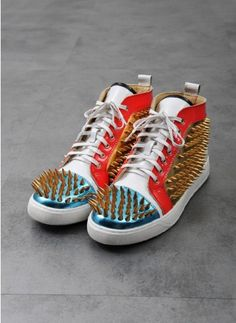 Crazy Footwear - standoutstyle staple: Mens Glossy Rollerboy Spikes High-top Sneakers at Fabrixquare