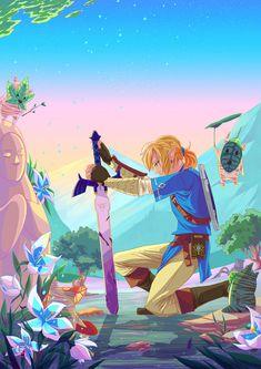 Legend of Zelda Breath of the Wild art > Link, the Master Sword, Koroks The Legend Of Zelda, Legend Of Zelda Breath, Ben Drowned, Image Zelda, Zelda Video Games, Princesa Zelda, Tarot, Master Sword, Adventure Games