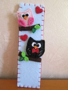 Felt Bookmark, Owl Bookmark, Gift for Readers, Valentine's Day Gift, Felt Owl Bookmark. di TinyFeltHeart su Etsy