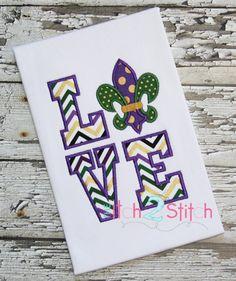 Fleur De Lis LOVE Applique Design 5x7, and 6x10  INSTANT DOWNLOAD now available