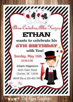 Magician Party Invitation, Magic Birthday Invitation, PRINTABLE Magic Party Invitation