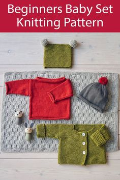 Knitting Pattern for Baby Set for Beginners Jacket, Sweater, Beanie, Hat Crochet Yarn, Knitting Yarn, Crochet Hooks, Easy Baby Knitting Patterns, Knit Patterns, Roll Neck Sweater, Jumper, Plymouth Yarn, Paintbox Yarn