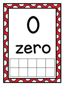 Number Posters with Ten Frames and Flash Cards---Bright Red Polka Dots Math Classroom, Kindergarten Math, Maths, Number Posters, Dotted Page, Number Words, Ten Frames, Social Studies, Core