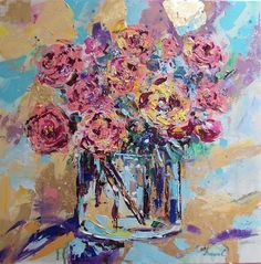 Original roses acrylic painting,roses abstract painting,abstract flowers,abstract floral,pink roses art,roses art,roses in vase painting