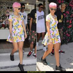 Rihanna in Los Angeles wearing Joyrich Memorial Garden floral skater dress, Nike Air Max 90 black sneakers, Dior black and white Exquise sunglasses. Rihanna Outfits, Rihanna Style, Celebrity Outfits, Celebrity Style, Nike Outfits, Dress Outfits, Casual Outfits, Fashion Outfits, Floral Skater Dress