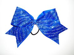 Blue/Clear Zebra Rhinestone Cheer Bow by Justcheerbows on Etsy, $27.50