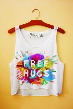 Free Hugs Crop Tank Top