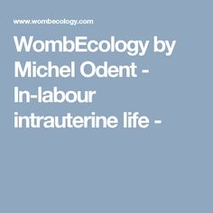 WombEcology by Michel Odent - In-labour intrauterine life -