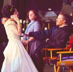 Ginnifer Goodwin and Josh Dallas on the set of Once Upon A Time || Ouat || Snow White and Prince Charming || Snowing || Joshifer || Mary Margaret Blanchard and David Nolan