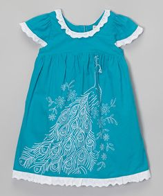 Another great find on #zulily! Turquoise Peacock Embroidered Dress - Infant, Toddler & Girls #zulilyfinds