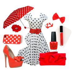 Black/white/red Polka dot dress outfit