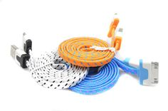 1M/2M/3M Braided USB Cable Flat 30 pin USB Data Sync Charging Charger Cable Cord For iPhone 4 4S 3G iPad 2 3 iPod Nano
