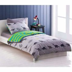 DINOSAUR-REVERSIBLE-DOUBLE-bed-QUILT-DOONA-COVER-SET-NEW