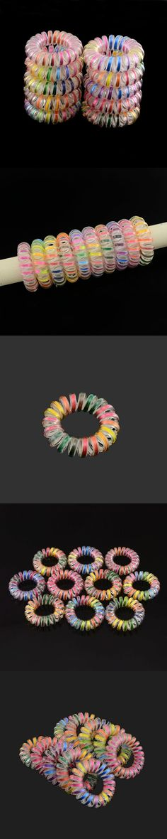 Mix Color 10 Pcs Lots Telephone Wire Elastic Hair Bands Rope Hair Ring Spiral Rubber Bands Hairband Hair Accessories For Girl