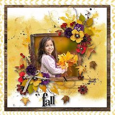 Autumn Glory by Natali designs photo Elina Kurmysheva use with permission Autumn, Fall, Poppies, Cute Pictures, Floral Wreath, Challenges, Colours, Scrapbooking, Painting