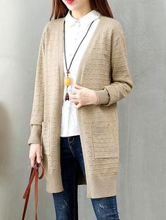 Casual Tassel Long Sleeves Knitted Sweater Cardigan For Women d0092146c