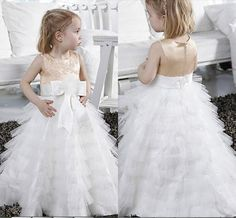 2015 Lovely Tulle Tiers Wedding Flower Girls Dresses Lace Appliqued Bow Ribbon Girls Pageant Gowns Cheap Floor Length #dhgatePin