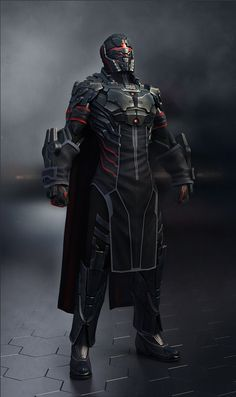 Dark armor and cloak, cool sci fi helmet