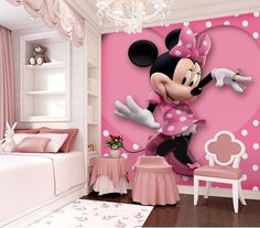 Superb Pink Minnie Mouse Heart Dot Wallpaper Wall Decals Wall Art Print Mural Part 10