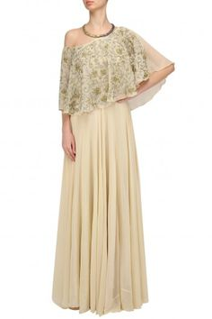 Samatvam By Anjali Bhaskar  Cream, Gold And Silver Embroidered Off Shoulder Cape Gown  #happyshopping #shopnow #ppus