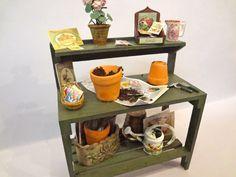 dollshouse miniature potting bench by Londondollshouses on Etsy, £63.00