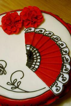 Spanish Theme Cake - www.tiersofhappiness.net Spanish Themed Party, Spanish Party, Spanish Wedding, Spanish Style, Elegant Birthday Cakes, Diy Birthday Cake, 50th Birthday Party, Flamenco Party, Paella Party